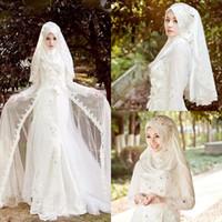Vestidos de boda árabes islámicos musulmanes Mangas largas Vestidos de boda de cuello alto sin velo Cremallera trasera Una línea de cuentas por encargo