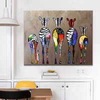 Framed Handpainted Animal Art Oil Painting colorful zebras, o...