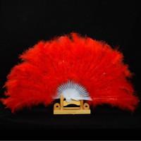 Showgirl Feather Fans Pieghevole Danza Fan mano Fantasia costumi per le donne rifornimenti del partito di nozze 13 colori trasporto veloce F20171624