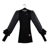 Wholesale-preto outono inverno Básico Básico Sweater de lã eiderdown Laço de Algodão Lace Manga Longa Slim Corpo Mulheres Pullovers FZ14Jun023