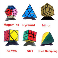 6 unids / set Shengshou Negro Forma Extraña Cubo Mágico Conjunto Velocidad Twist Puzzle Bundle Pack Cubo PVCMatte Pegatinas Cubo Magia Puzzle