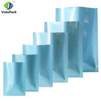다양 한 크기 100pcs 광택 블루 히트 인감 sachets 식품 저장 가방 알루미늄 호 일 마일 라 패키지 가방