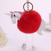 Новые Cute Unicorn брелок Fur кулон кольцо держатель сумка Подвеска сумка Аксессуары кошелек украшение Радуга лошадь Fur Key Chain