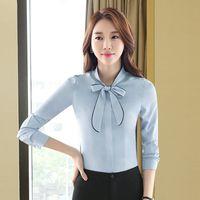 Blusas de las mujeres de moda Bow Tied cuello camisa manga larga Work Tops camisas Vintage nueva gasa de la blusa femenina