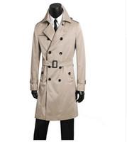 الرجال الرجال معطف الملابس بالاضافة الى حجم الربيع الخريف خندق تصميم مزدوجة الصدر الرجال معطف طويل التجاري الأسود jaqueta ذكر لل