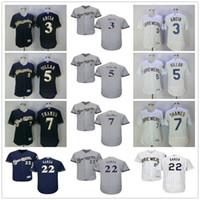 9dc0f5167 ... Wholesale Milwaukee Brewers Baseball Jersey 3 Orlando Arcia 5 Jonathan  Villar 7 Eric Thames 22 Matt ...