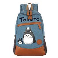 Kukucos El Boyalı Miyazaki Chowhao Kedi Omuz Çantası Öğrenci Kız Hediye Lady Graffiti Boyalı Sırt Çantası Benim Komşum Totoro Tuval Çanta