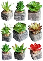 Artificial Green Potted Emulational Succulents Small Plant W...