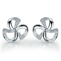 Top grossist silver örhängen charms etniska bröllop vintage utsökta ihåliga klöver väderkvarnar örhängen 925 sterling smycken