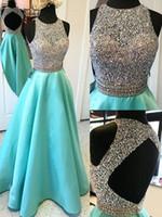 A 라인 이브닝 드레스 구슬 완벽한 오픈 돌아 댄스 파티 드레스 2018과 2021 스쿠프 넥 새틴 얇은 명주 그물
