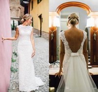 Vintage Sheath Lace Wedding Dresses 2018 Sheer Neck Capped S...