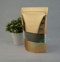 10x15cm präglingspåsar, 100pcs / parti x Stand up matt guld aluminiumfolie Ziplock väska med fönster-återförsäljbar torr banan lagring dragkedja
