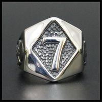 5 sztuk / partia Najnowszy Design Hot Selling Number 7 Pierścień 316L Ze Stali Nierdzewnej Biżuteria Popularne Lucky 7 Ring