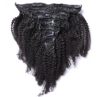 Clip Indian Human Hair Extensions Virgin Afro Kinky Curly Cl...