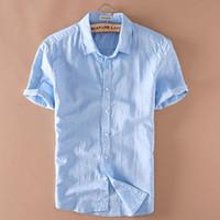 Белье Корейский мужской летний хлопок и лен короткий рукав рубашки лацкан случайные молодость льняная рубашка