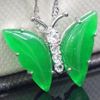 Джейд Бабочка Кулон Ожерелье Женщины Серебряная Цепочка Кристалл Мода Ювелирные Изделия Новый