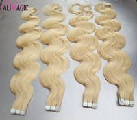 2020 New Hot Body onde Tape Extension de cheveux brésilienne peau Trame 100% réel Remy humaine Ondulés de Factory Direct de 40pcs