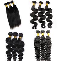 Virgin Brasilian Hair Wefts Human Hair Buntar Vävar 8-34In UNROROKED Peruvain Indian Malaysian Mongolian Virgin Mänskliga Hårförlängningar