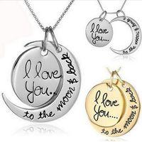 قلادة القلائد الكلمات للنساء مجوهرات colar سيدة الصداقة مجوهرات القلائد القمر الشمس أم أبي لصديقة الجدة صديقها