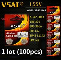 100 قطع 1 وحدة AG12 LR43 186 301 386 386A SR1142 SR43 L1142 LR1142 1.55 فولت بطاريات زر خلية البطارية القلوية عملة vsai مجانية