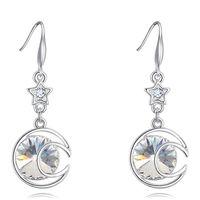 Kristalle von Swarovski Elements Strass Ohrringe baumeln weißes Gold überzogen Mond-Stern-lange Tropfen-Ohrringe für Frauen Fashion Jewelry 26496