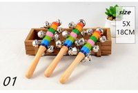 15 Cartoon sand hammer rattle rattle Wooden Stick Jingle Bel...