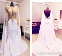 Eleganti abiti da ballo arabi 2019 con mantello in oro e oro con perline abito da sera senza spalline Abiti da sera Kftan Red Carpet Party Dress