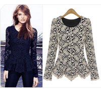 Elegant&Sexy Women Long Sleeve Lace Peplum Jumper Top Blouse...