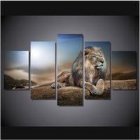 5pcs / set Unframed One Lion Lie on the Mountain Oil Painting On Canvas Wall Art Painting Art Picture для декора гостиной