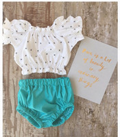 ins baby summer clothes sets cute girl off collar top+ green ...