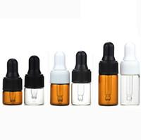 Vides Mini Essential bouteilles d'huile 1ml 2ml 3ml Ambre Verre clair Bouteilles avec verre Dropper Cap blanc Noir Dropper Tube, petit échantillon de verre