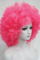 Envío gratis d.pink RIZADO AFRO PELUCHE CIRCUS CLOWN UNISEX LUJO VESTIDO FÚTBOL SPORT SOPORTE pelucas