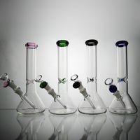 Glas Bong-Becherbasis-Grundbasis Wissenschaftliche Bongs 6 Optionen Dickes Glas mit 14mm Diffusor und Schüssel Freies Verschiffen