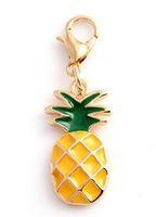 20pcs / lot Charms a sospensione galleggiante ananas con chiusura ad aragosta adatta per catena medaglione collana braccialetto