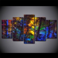 5 Pcs Set Framed HD Printed Colorful Forest Tree Picture Wal...