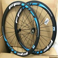 원래 FFWD F5R 파란색 흰색 데칼 자전거 탄소 바퀴 3k 무광택 clincher 50mm 깊이 도로 자전거 바퀴 700C V 브레이크 powerway 탄소 허브와 함께