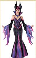 디럭스 코스프레 퍼플 드레스 어둠의 마녀 복장 스탠드 - 업 칼라와 모자를 쓰는 성인 여성의 할로윈 의상