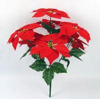 Дешевые поддельные искусственный Красный пуансеттия цветок шелковый бархат пуансеттия букет цветов для дома партии рождественские украшения