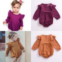 Baumwolle Kleinkind Mädchen Strampler Mode Design Baby Kleidung Herbst Frühling 2021 Nette Fliege Langarm Strampler 17080704