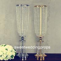Lüks Düğün Dekorasyon Için 18 cm Çapları Yuvarlak kristal boncuk Masa Dekorasyon Merkezi Parça