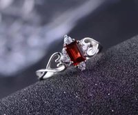 Romantic silver gemstone ring for woman 0. 5 ct 4*6mm natural...
