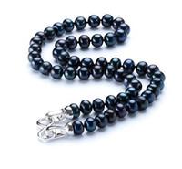 Naturel 8-9MM Noir Perle Collier Naturel Perle Collier Ras Du Cou pour Femmes Classique Perle Bijoux 18 pouces