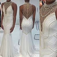 Sparkly High Neck Mermaid Evening Dressess Illusion Top Sleeveless Pearls Beading Luxury Prom Party Gowns Sweep Train Custom Made