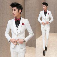 Wholesale- neue Art und Weise der heißen nagel 2016 Männer beiläufige hohe Qualität stieg Prägung Hochzeit Anzug männliche dünne Korea-Art-Blazer Weste und Hose