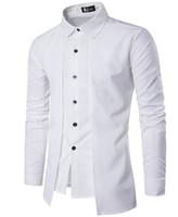 Sahte İki Adet Elbise Gömlek Erkekler Tasarım Katı Renk Çift Pat Tek Breasted Yaka Uzun Kollu Erkek Casual Gömlek Ücretsiz Gemi Turn Down