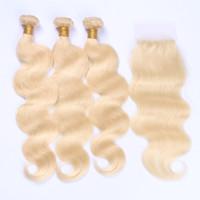 Blonde Péruvienne Cheveux Humains 3Bundles Avec Fermeture Libre Moyen 3 Voies Partie Vague de Corps Blonde 4x4 Dentelle Fermeture Avec Weaves Pur # 613 Couleur