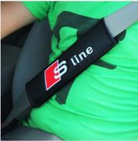 2 Adet / çift Araba Emniyet Emniyet Kemeri Kapak S hattı RS Logosu Yumuşak Kayış koruyucu Kapak Audi A3 A4 A5 A6 Q3 Q5 Q7 Araba Styling