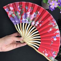 زينت الخيزران للطي مروحة اليد المحمولة الزهور مروحة الجيب اليابانية الصينية الحرير نسيج مروحة للنساء 1 قطع
