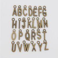 Hadas nueva aleación de la vendimia del alfabeto de metal encantos de la letra inicial 260pcs / lot, cada letra de los encantos 10pcs, AAC1198