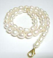 10 шт./лот белый рис пресноводные жемчужное ожерелье мода карабинчиком 16 дюймов для DIY ремесло ювелирные изделия Gfit Бесплатная доставка P1*